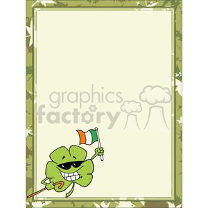 A Shamrock with Flagof Ireland in a green Irish border clipart. Commercial use image # 377963