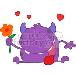 funny purple spotted monster with a one red flower in hand
