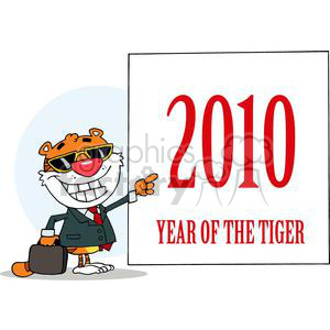 Happy Tiger Presenting a Sing with 2010 year of the Tigeron it. clipart. Royalty-free image # 377978