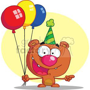 Delighted Bear in party hat with balloons