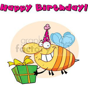 a happy big nose bee carries gift to birthday party clipart. Royalty-free image # 377998