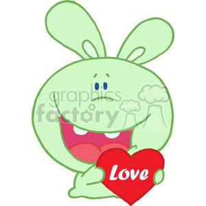 a light green rabbit in love hold a valentines day heart with love on it.