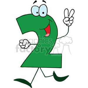 Cartoon Number 2 Green holding up Two Fingers