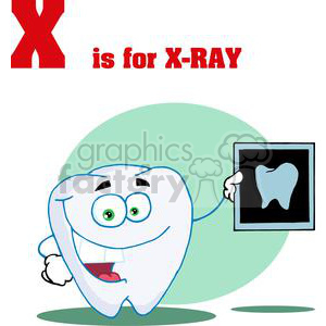 X as in X-Ray a tooth holding an A-Ray of a Healthy Tooth clipart. Royalty-free image # 378048
