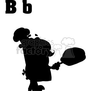 B is for Baker a Silhouette of a Baker with a loaf of Bread clipart. Commercial use image # 378063