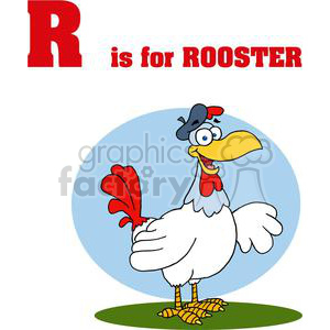 R as in Rooster Smiling with a Hat on clipart. Royalty-free image # 378068