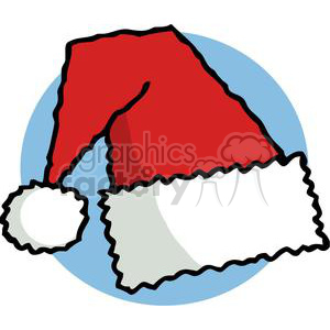 Santa Hat in Front of a Blue Circle  clipart. Royalty-free image # 378128