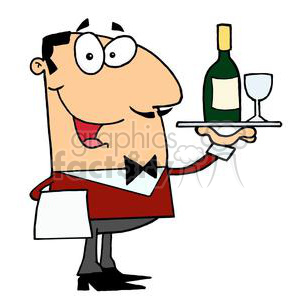 a man in a waiters outfit serving a wine with a glass clipart. Royalty-free image # 378143