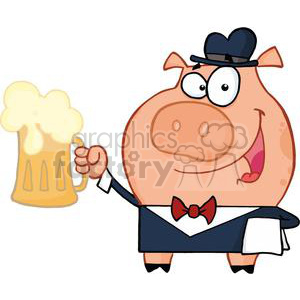 Waiter Pig with a Pint of Golden Ale clipart. Commercial use image # 378153