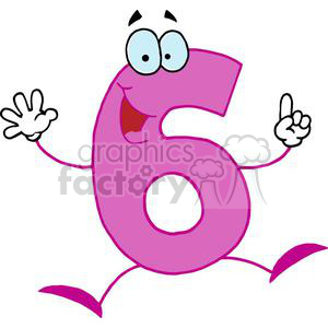 Happy Number 6 Holds up Six Fingers clipart. Royalty-free image # 378188