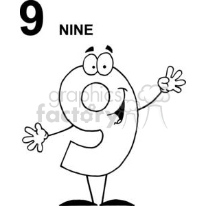 Happy Number 9 Holding Up Nine Fingers clipart. Royalty-free image # 378208