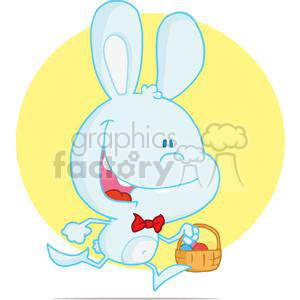 Happy Easter Bunny Running with Easter Eggs clipart. Commercial use image # 378213