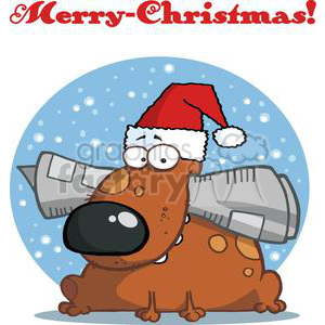 Dog Holds Newspaper in Mouth with Santa Hat and Merry Christmas! clipart. Commercial use image # 378243
