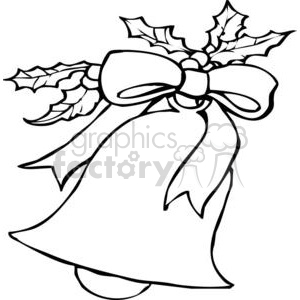 Christmas Bell In Black and White clipart. Commercial use image # 378268