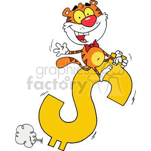 Happy Tiger Rides A Big Golden Dollar Sign clipart. Royalty-free image # 378283