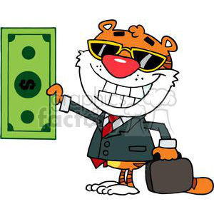 A Cool Tiger holds up a Dallor Bill clipart. Royalty-free image # 378318