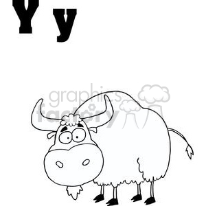 Yak in Black and White clipart. Commercial use image # 378328