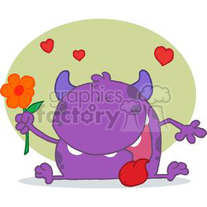 Monster with a flower clipart. Royalty-free image # 378333