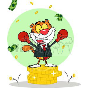 Cartoon Character Happy Tiger alated With His Victory clipart. Royalty-free image # 378343