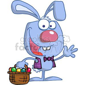Happy Easter Bunny in a purple plad vest clipart. Royalty-free image # 378348