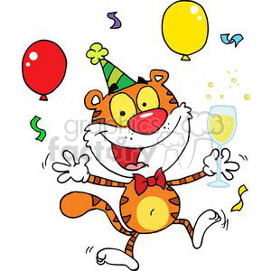 Happy Tiger Parting On New years Eve clipart. Commercial use image # 378368