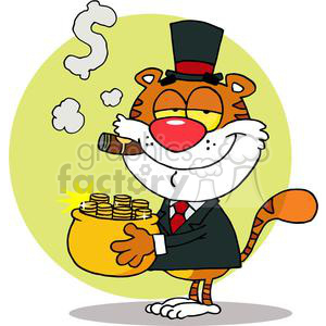 Cartoon Character Animal Happy Tiger With Pot Of Gold clipart. Royalty-free image # 378373