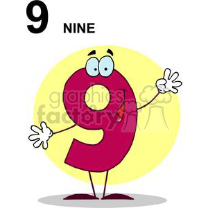 Number 9 Smiling clipart. Royalty-free image # 378378