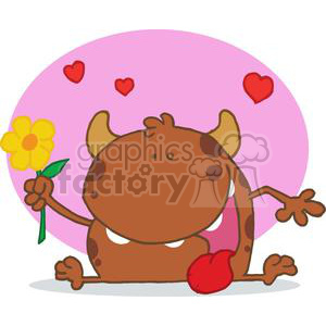 Horned Monster with a Signal Yellow Flower clipart. Royalty-free image # 378383