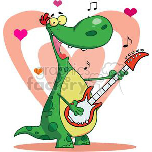 Dinosaur Plays Guitar with Heart Background clipart. Royalty-free image # 378388