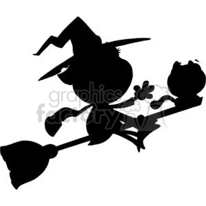 Cartoon Silhouette Little Witch and Black Cat Ride Broom