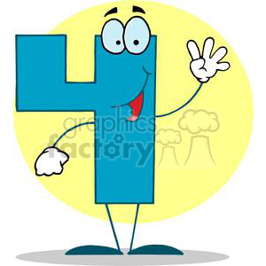 Happy Number 4 in Blue Holding Up Four Fingers clipart. Royalty-free image # 378403