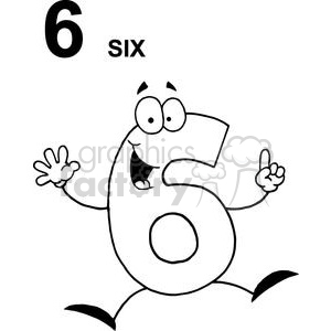Number 6 Jumping For Joy clipart. Royalty-free image # 378408
