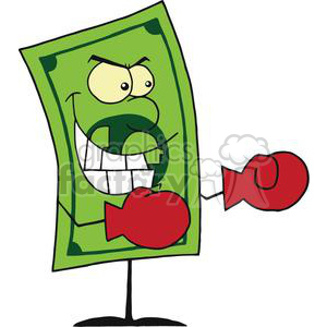 A Dollar Bill Wearing Red Boxing Gloves