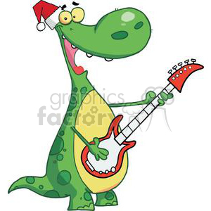 Dinosaur Plays Guitar with Santa Hat On White Background clipart. Commercial use image # 378448