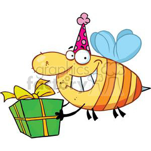 Cartoon Bee Carrying a Gift clipart. Royalty-free image # 378463