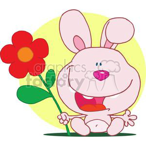 happy bunny holds flower in hand with a yellow circle background clipart. Royalty-free image # 378478