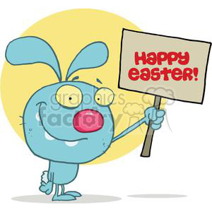 Silly Rabbit Holds A Happy Easter Sign clipart. Royalty-free image # 378488