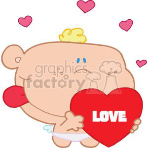 Romantic Cupid With Valentine Heart clipart. Royalty-free image # 378493