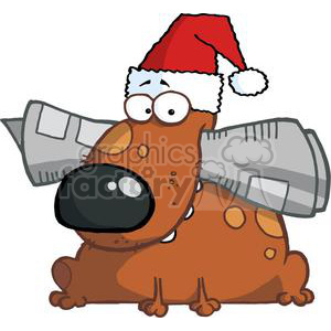 Dog In A Sant Hat Holds Newspaper in Mouth On Christmas Day clipart. Commercial use image # 378503