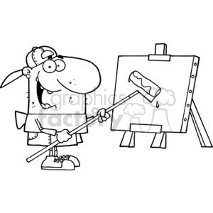 Artist Uses Roller on Canvas clipart. Royalty-free image # 378508
