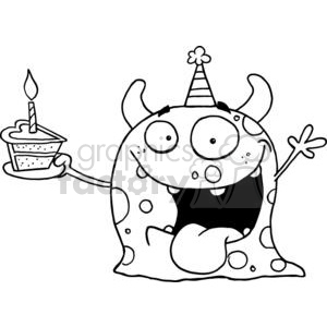 Happy Monster Celebrates Birthday With Cake Isolated On A White Background clipart. Commercial use image # 378513