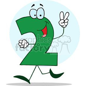 Cartoon Happy Numbers 2 in green holding two finger up