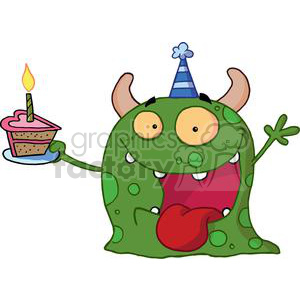Excited Green Monster Celebrates Birthday With Pink Heart Shaped Cake clipart. Royalty-free image # 378528