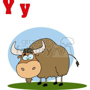 a brown Yak grazing on a spring day clipart. Royalty-free image # 378553