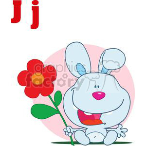 JAckrabbit smiling with a Red and Orange Flower in Front of a Light Pink Sphere clipart. Royalty-free image # 378563