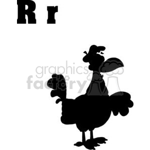 Silhouette of a Rooster Isolated on a White Background