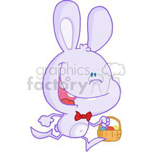 Happy Bunny Running with Easter Eggs In a Basket clipart. Commercial use image # 378578