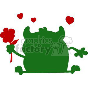 Green monster silhouette with hearts holding a flower clipart. Royalty-free image # 378583