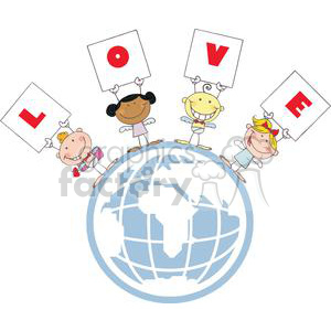 Different Nationalities Stick Cupids Group with Banners Love on World clipart. Royalty-free image # 378588