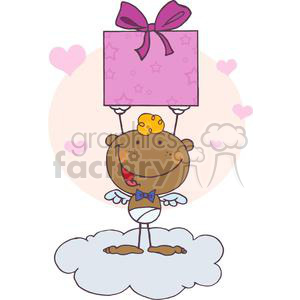 Stick African American Cupid with Gift clipart. Commercial use image # 378593